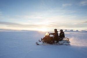 Snowmobiling on Langjokull glacier