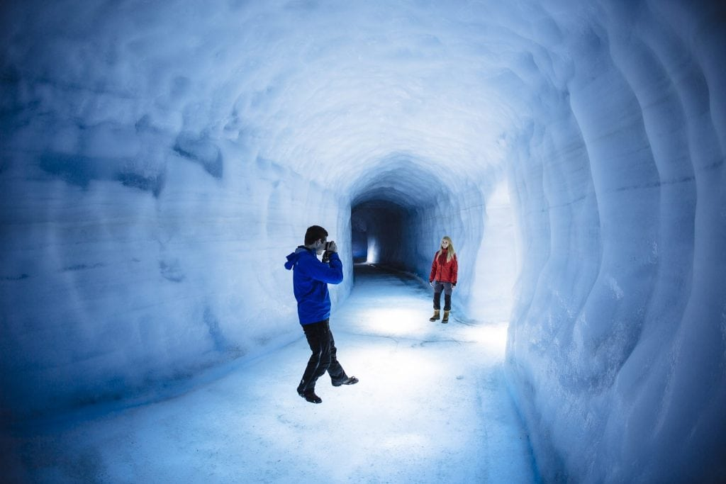Taking picture inside ice cave in Iceland