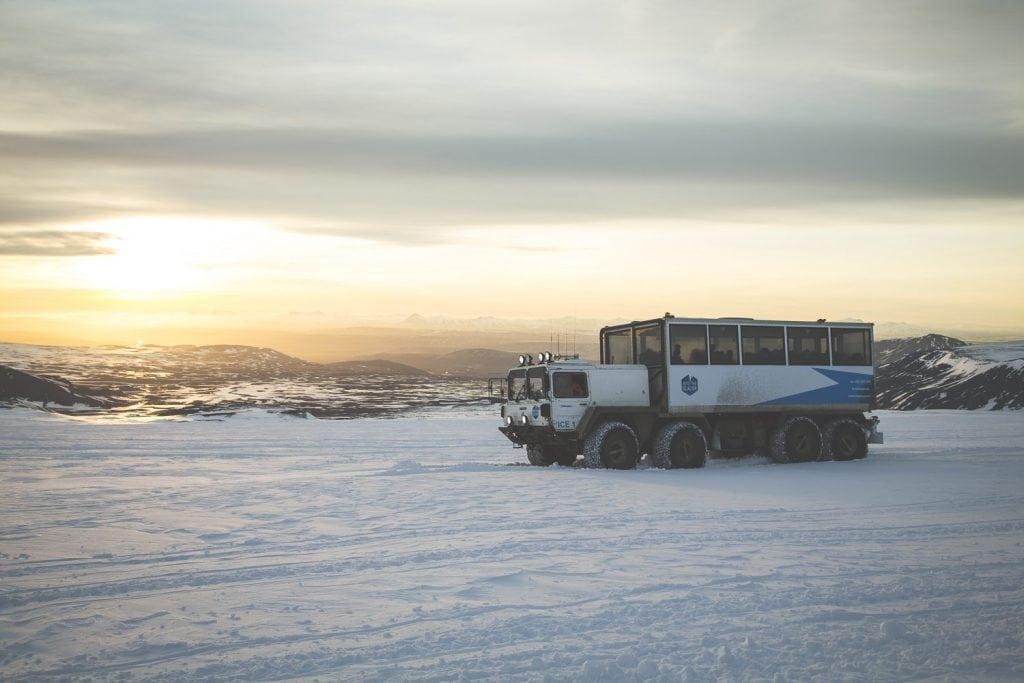 Truck on Langjokull glacier