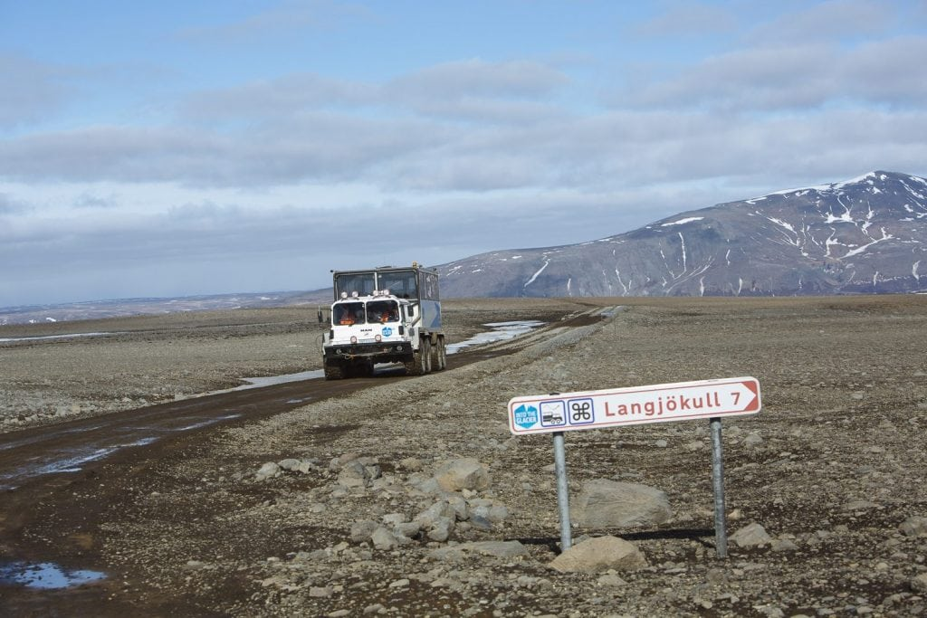 Langjokull glacier sign and truck