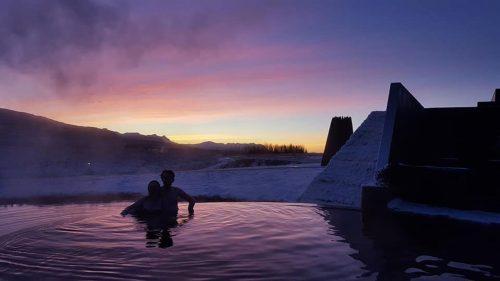 Krauma bathing in sunset