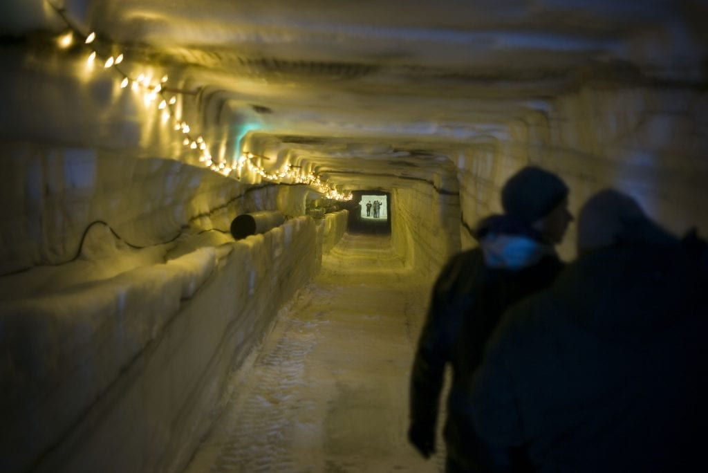 inside ice tunnel
