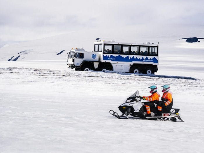 Snowmobile and arctic truck in Iceland
