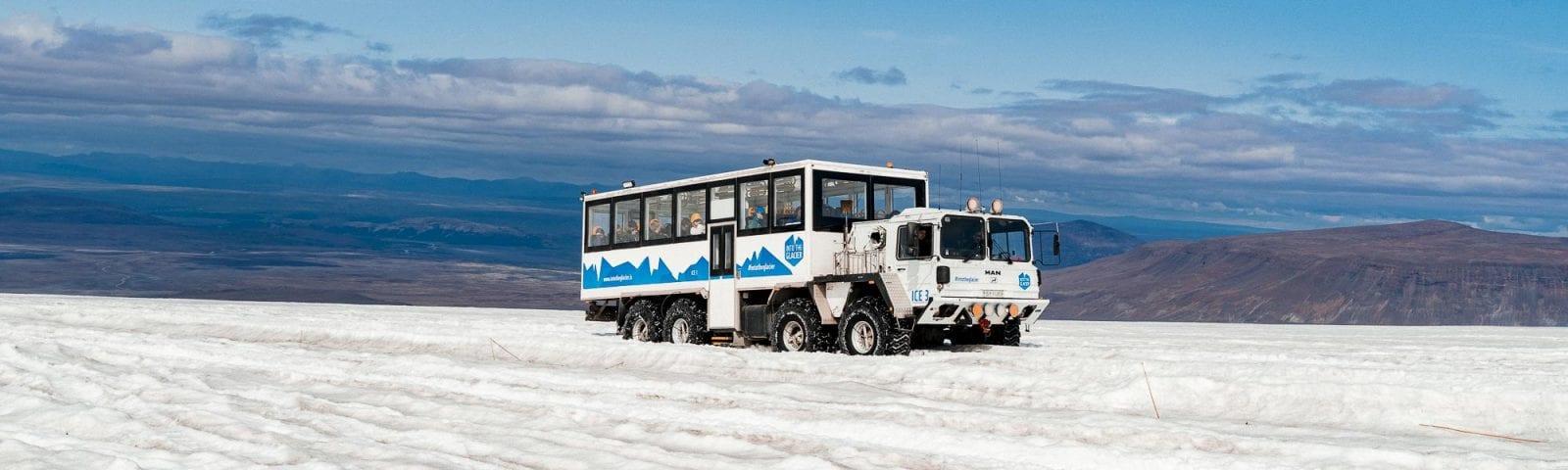 Huge track on glacier in Iceland